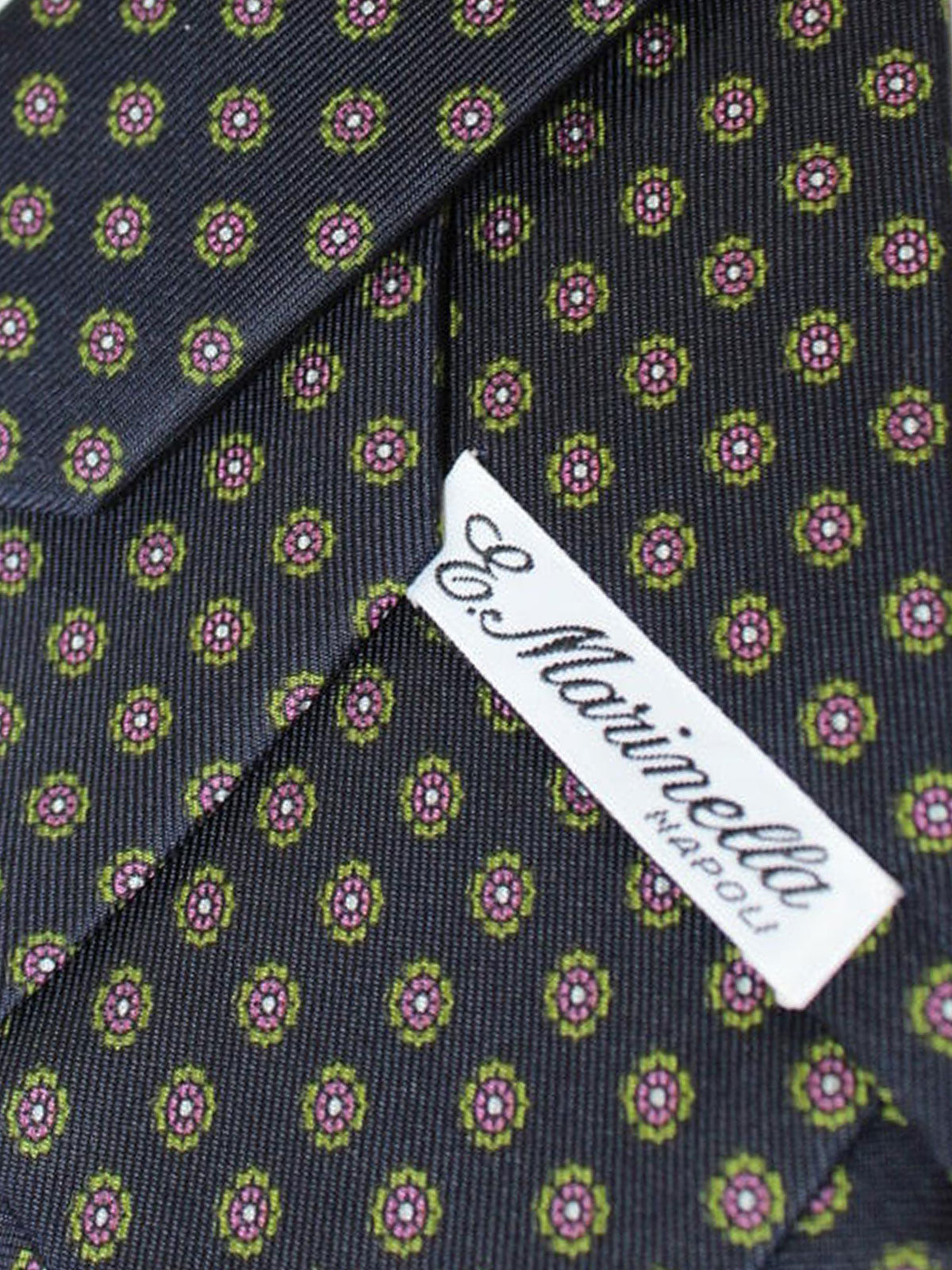 E. Marinella Silk Tie Dark Blue Green Pink Floral