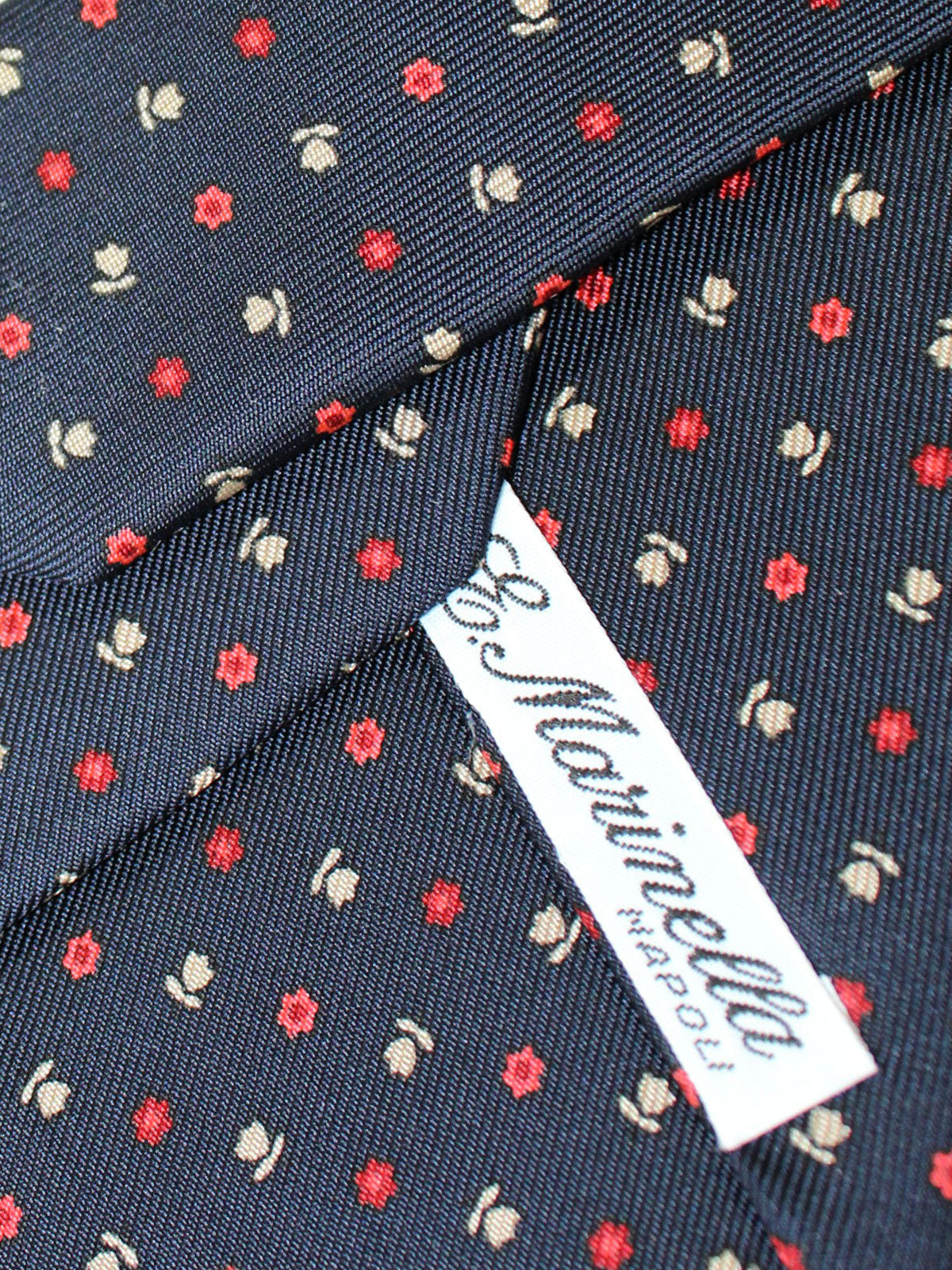 E. Marinella Silk Tie Navy Red White Flowers