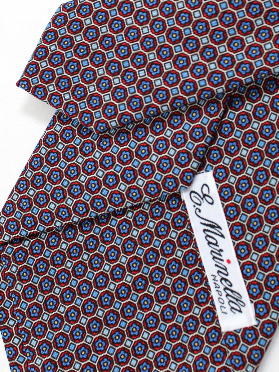 E. Marinella Napoli Tie Blue Red Mini Flowers - Wide Necktie