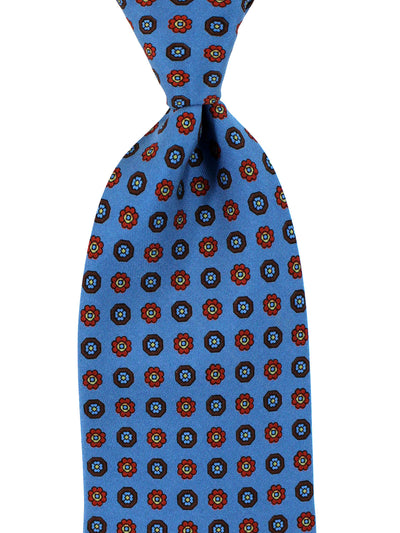 E. Marinella Napoli Tie Midnight Blue Flowers - Wide Necktie