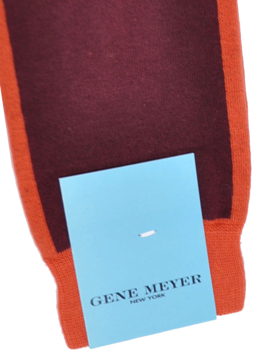 Gene Meyer Socks Maroon Rust Orange - Over The Calf Men Socks