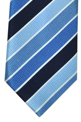 Massimo Valeri Extra Long Tie Navy Blue Sky Blue Stripes