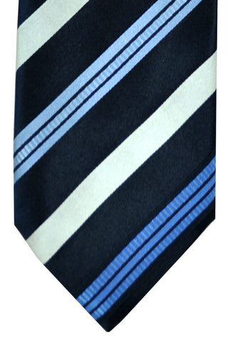 Massimo Valeri Extra Long Tie Navy Blue White Stripes