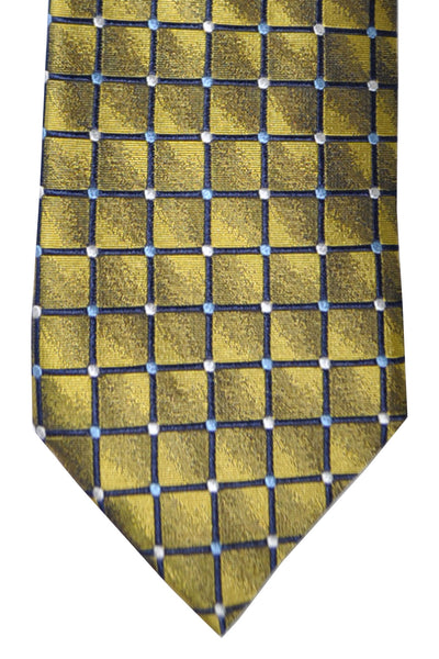 Massimo Valeri Extra Long Tie Olive Silver Geometric