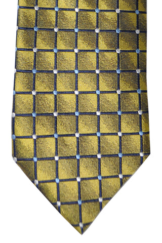 Massimo Valeri Extra Long Tie Olive Silver Geometric - Hand Made In Italy