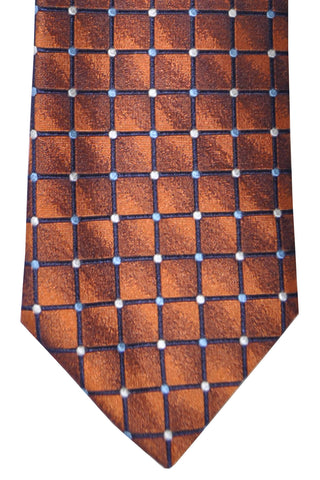Massimo Valeri Extra Long Tie Copper Silver Geometric - Hand Made In Italy