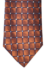 Massimo Valeri Extra Long Tie Copper Silver Geometric