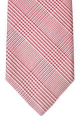 Massimo Valeri Extra Long Tie Red Silver Black Stripes