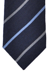 Massimo Valeri Extra Long Tie Navy Blue Gray Stripes