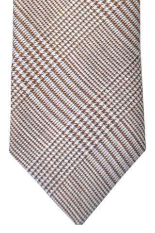 Massimo Valeri Extra Long Tie Brown Gray Silver Houndstooth Stripes - Hand Made In Italy