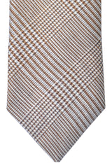 Massimo Valeri Extra Long Tie Brown Gray Silver Stripes