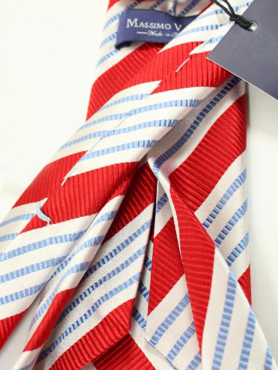 Massimo Valeri 11 Fold Tie Red Blue Stripes Elevenfold Necktie