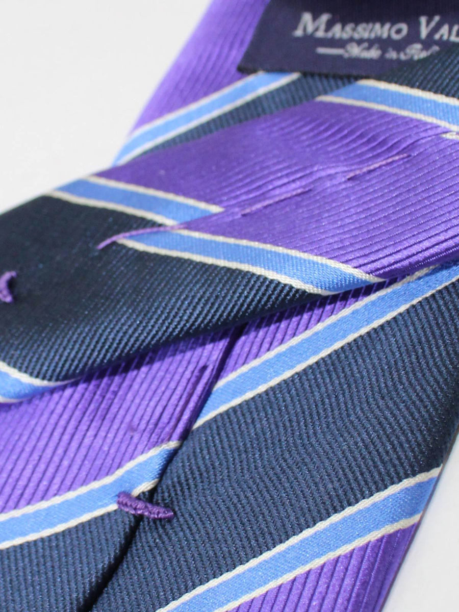Extra Long Tie Purple Blue Navy Stripes