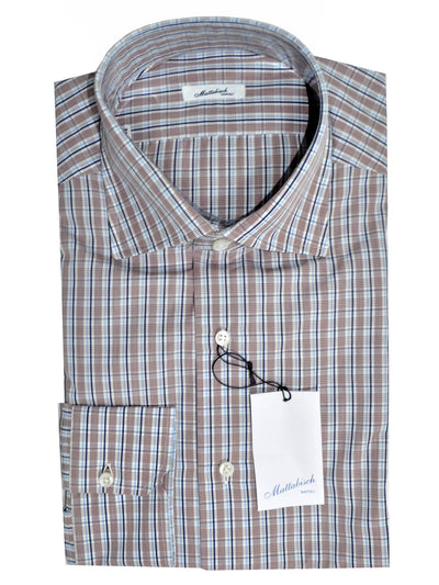 Mattabisch Dress Shirt Blue Navy Maroon Stripes