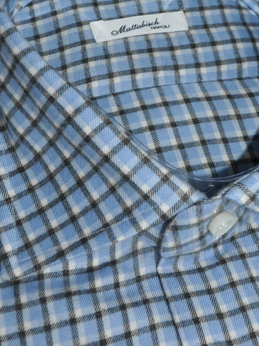 Mattabisch Shirt Blue Black White Check - Flannel Cotton 44 - 17 1/2 SALE