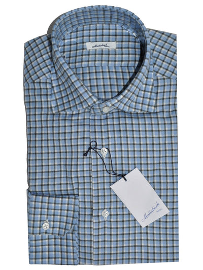 Mattabisch Shirt Blue Black White Check Design - Flannel Cotton 41 - 16 SALE