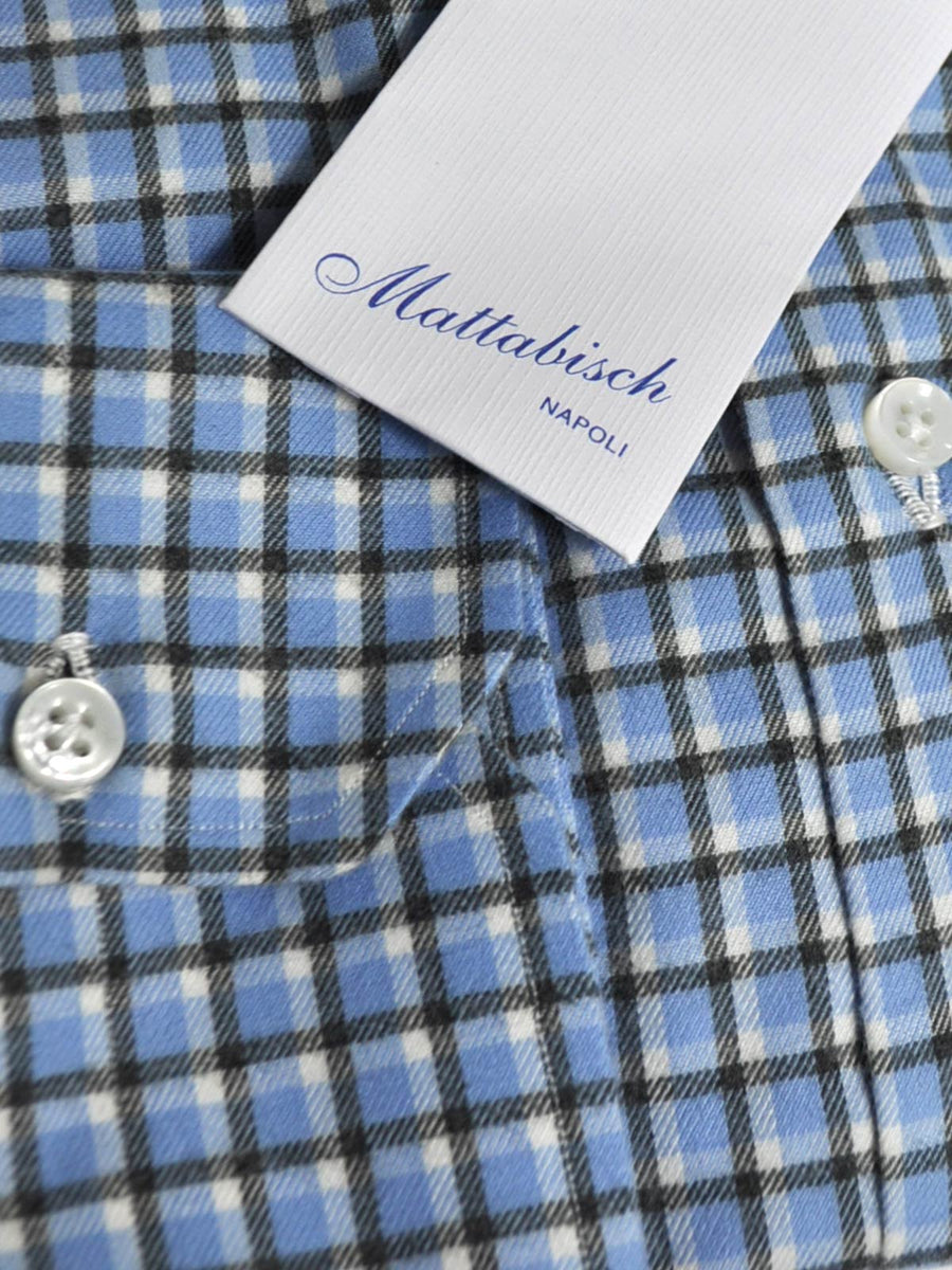 Mattabisch Sport Shirt Blue Black White Check - Flannel Cotton 39 - 15 1/2 SALE