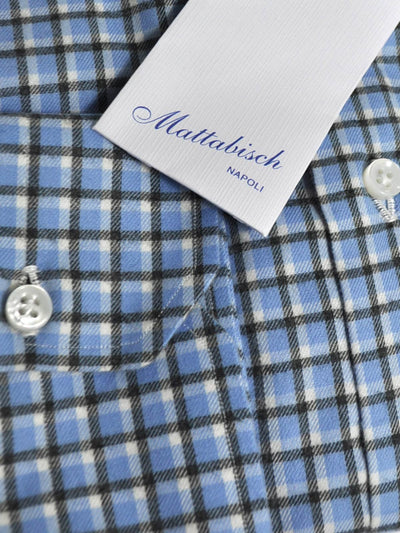 Mattabisch Sport Shirt Blue Black Plaid Check