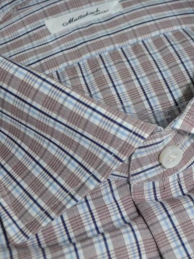 Mattabisch Dress Shirt Maroon Blue Navy Stripes 40 - 15 3/4 REDUCED - SALE
