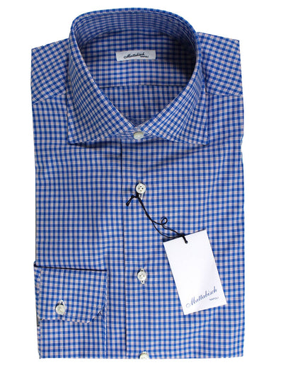 Mattabisch Shirt White Royal Blue Check 45 - 18 REDUCED - SALE