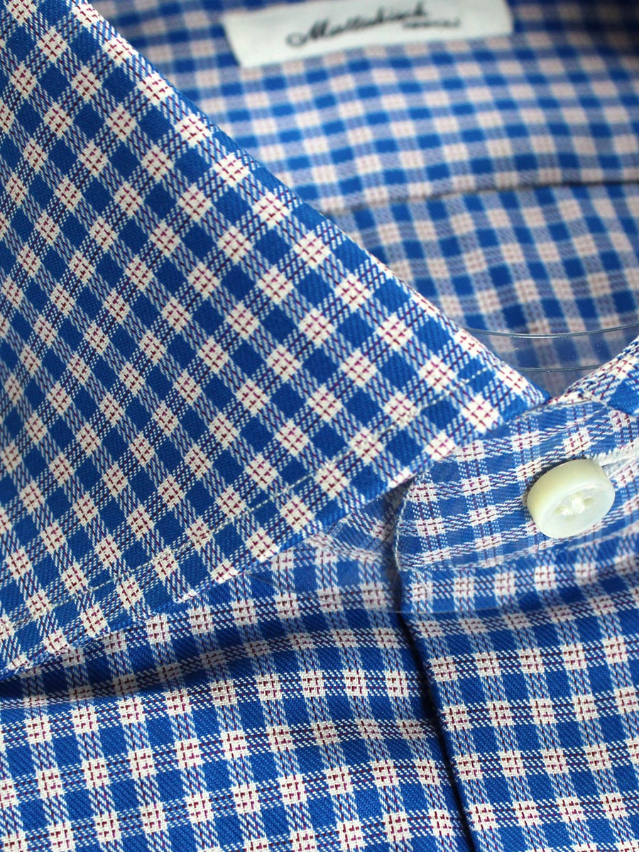 Mattabisch Shirt White Royal Blue Check 38 - 15 REDUCED - SALE