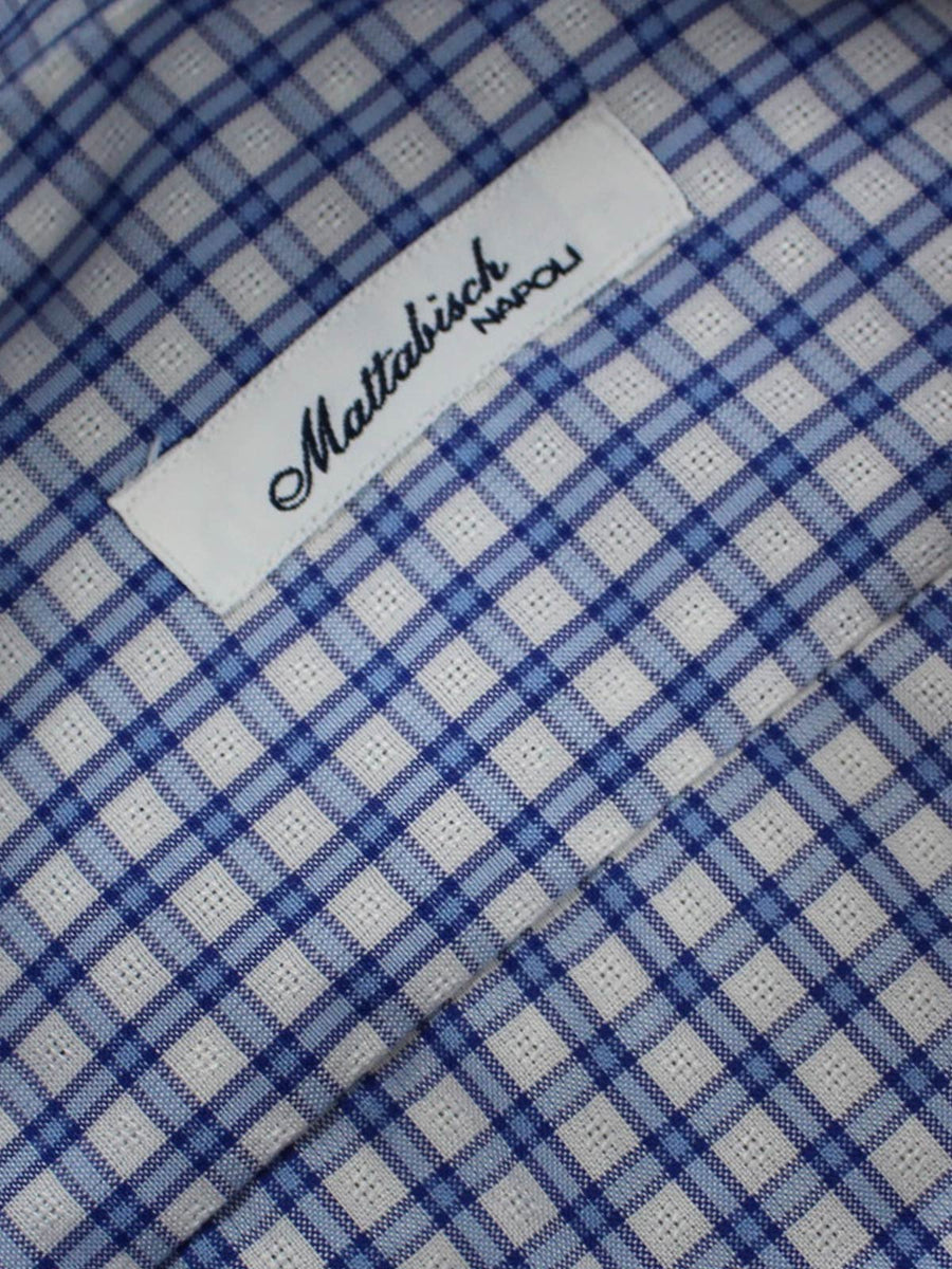Mattabisch Dress Shirt White Brown Blue Check