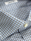Mattabisch Dress Shirt White Blue Black Tattersall Check 40 - 15 3/4 REDUCED - SALE