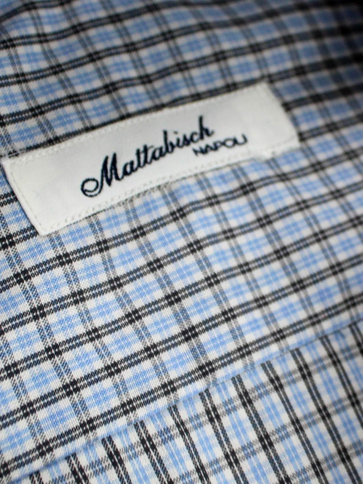 Mattabisch Dress Shirt White Blue Black Check