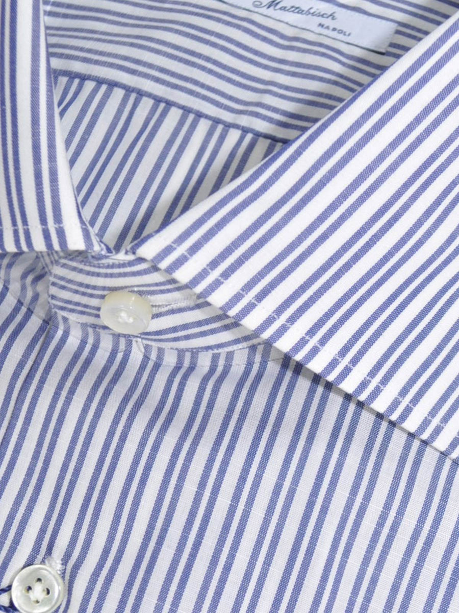 Mattabisch Dress Shirt White Navy Double Stripes