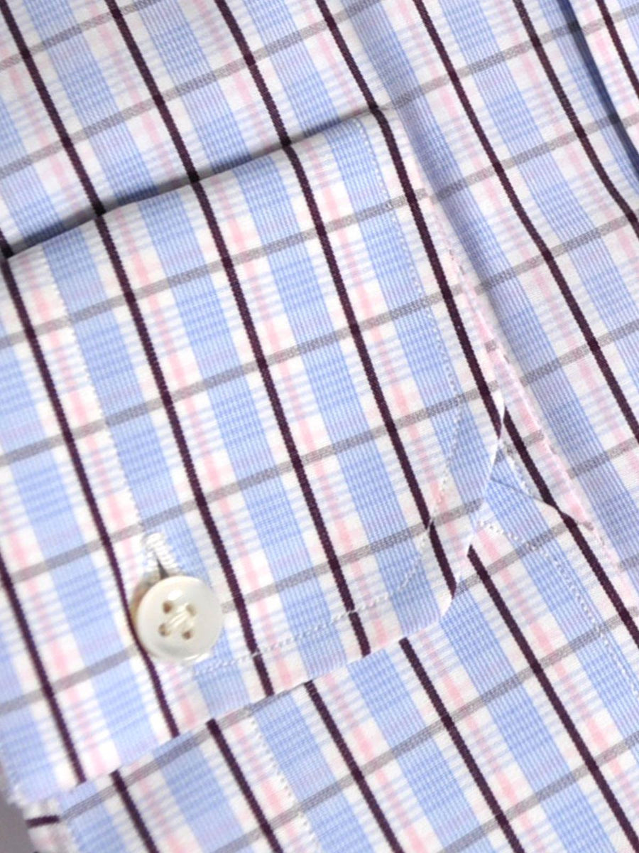 Mattabisch Napoli Dress Shirt White Blue Pink Check SALE