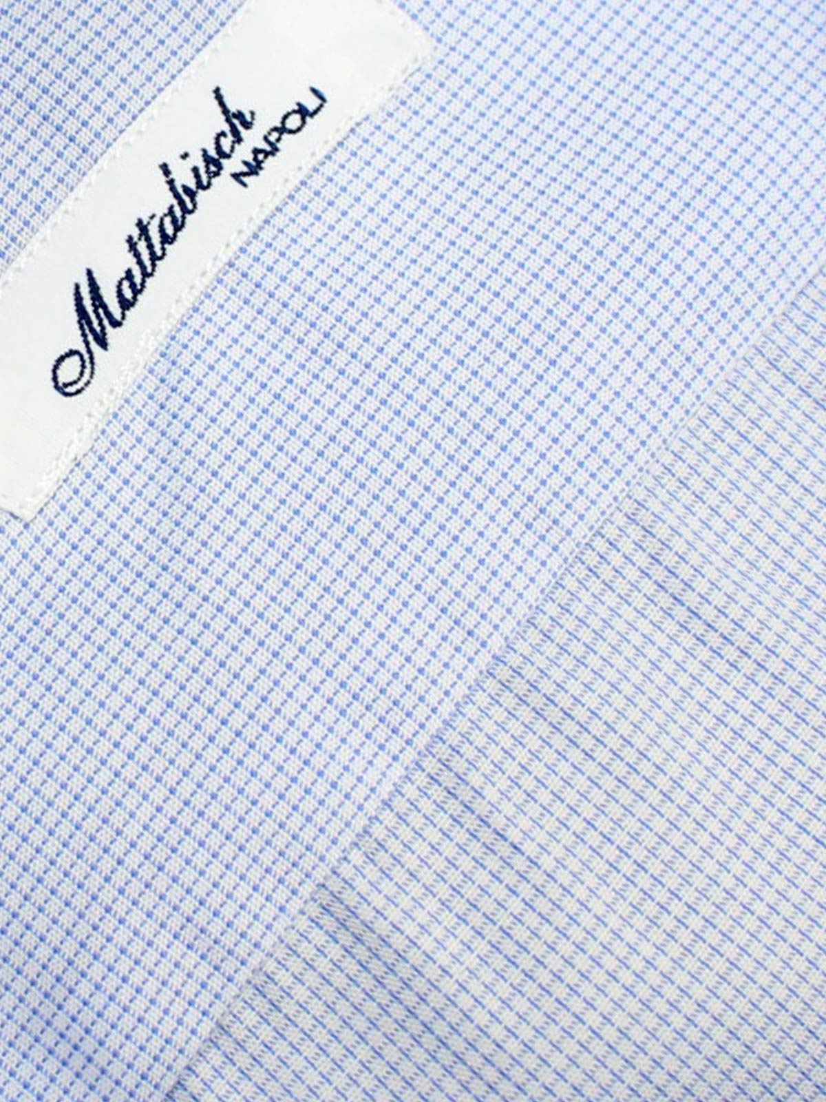 Mattabisch Napoli Shirt White Blue Micro Check