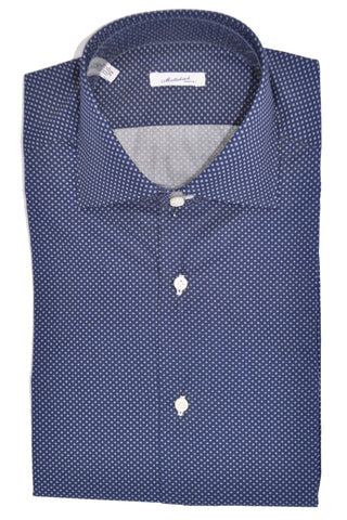 Mattabisch Shirt Navy Dots 39 - 15 1/2 Hand Made In Italy