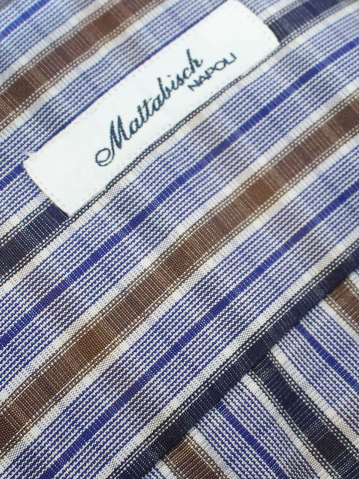 Mattabisch Dress Shirt White Royal Blue Brown Check - Sartorial Shirt 40 - 15 3/4 REDUCED - SALE