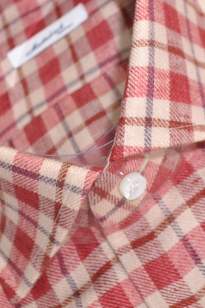 Mattabisch Shirt Pink Navy Brown Plaid Flannel Cotton 44 - 17 1/2 - SALE