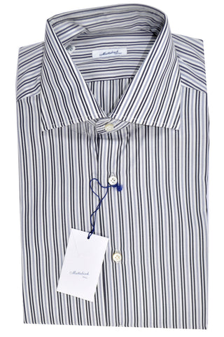 Mattabisch Shirt White Black Navy Stripes 43 - 17 FINAL SALE