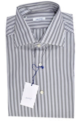 Mattabisch Shirt White Black Navy Stripes