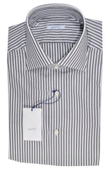 Mattabisch Shirt White Gray Stripes 39 - 15 1/2 SALE