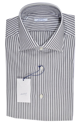 Mattabisch Shirt White Gray Stripes 39 - 15 1/2