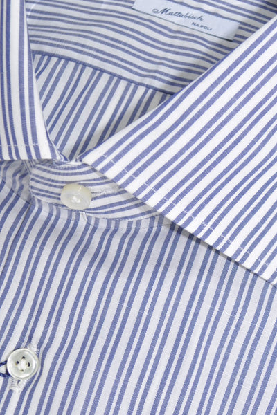 Mattabisch Dress Shirt White Navy Stripes