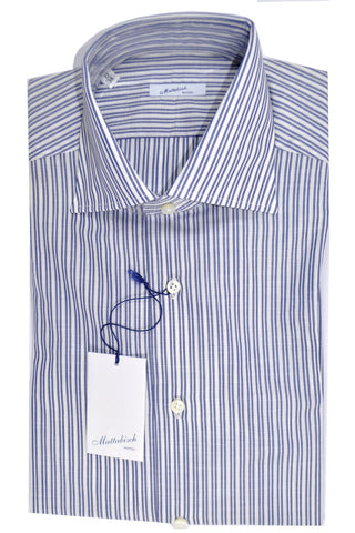 Mattabisch Dress Shirt White Navy Stripes 39 - 15 1/2