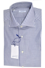 Mattabisch Dress Shirt White Navy Stripes New