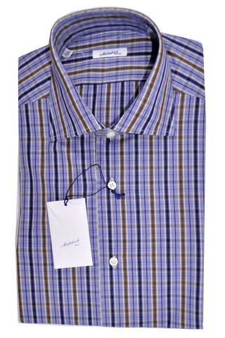 Mattabisch Dress Shirt White Navy Brown Check 37 - 14 1/2 SALE