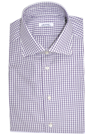 Mattabisch Dress Shirt White Purple Grid 41 - 16