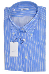 Mattabisch Linen Button-Down Shirt Sky Blue White Stripes