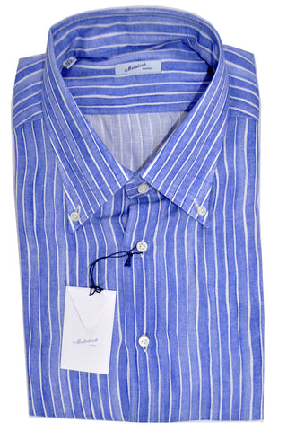 Mattabisch Linen Button-Down Shirt Purple White Stripes 42 - 16 1/2 FINAL SALE