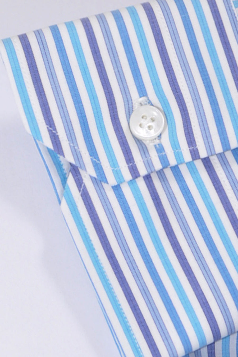 Mattabisch Dress Shirt White Aqua Blue Stripes 39 - 15 1/2