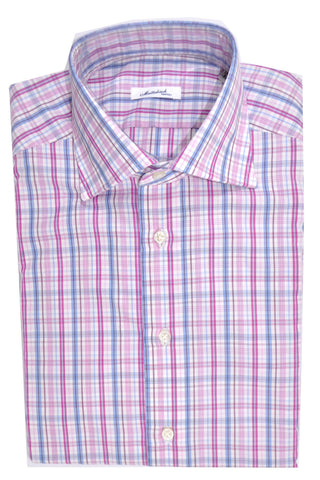 Mattabisch Dress Shirt White Pink Lavender Blue Check Stripes 39 - 15 1/2
