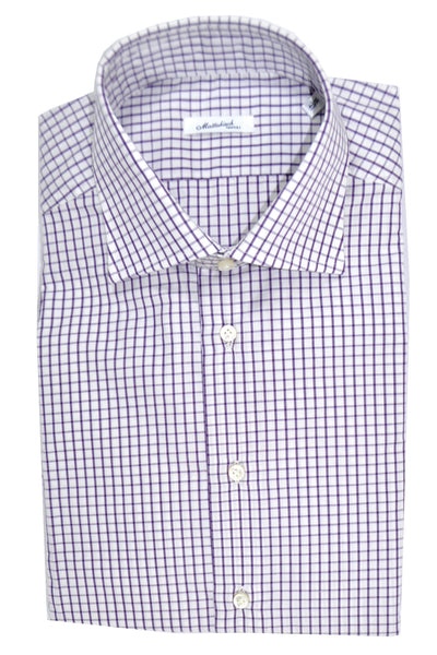 Mattabisch Dress Shirt White Purple Check 41 - 16