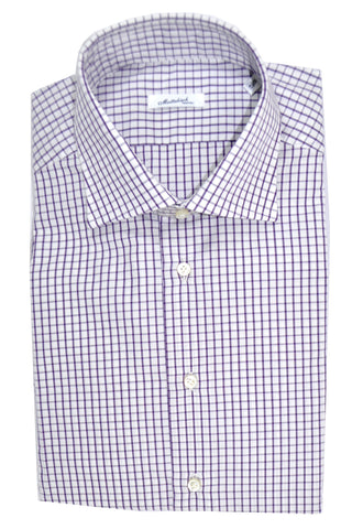 Mattabisch Dress Shirt White Purple Check 40 - 15 3/4