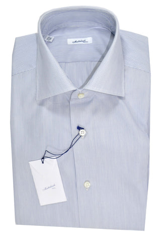 Mattabisch Dress Shirt White Navy Stripes 40 - 15 3/4